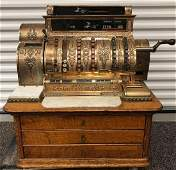Antique National Cash Register Co Brass Cash Register