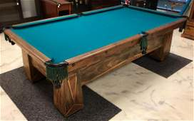 Antique Walnut Pool Table with Ornate Inlay