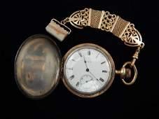 Elgin Hunter Case Pocket Watch #15838300 w/ Watch Fob