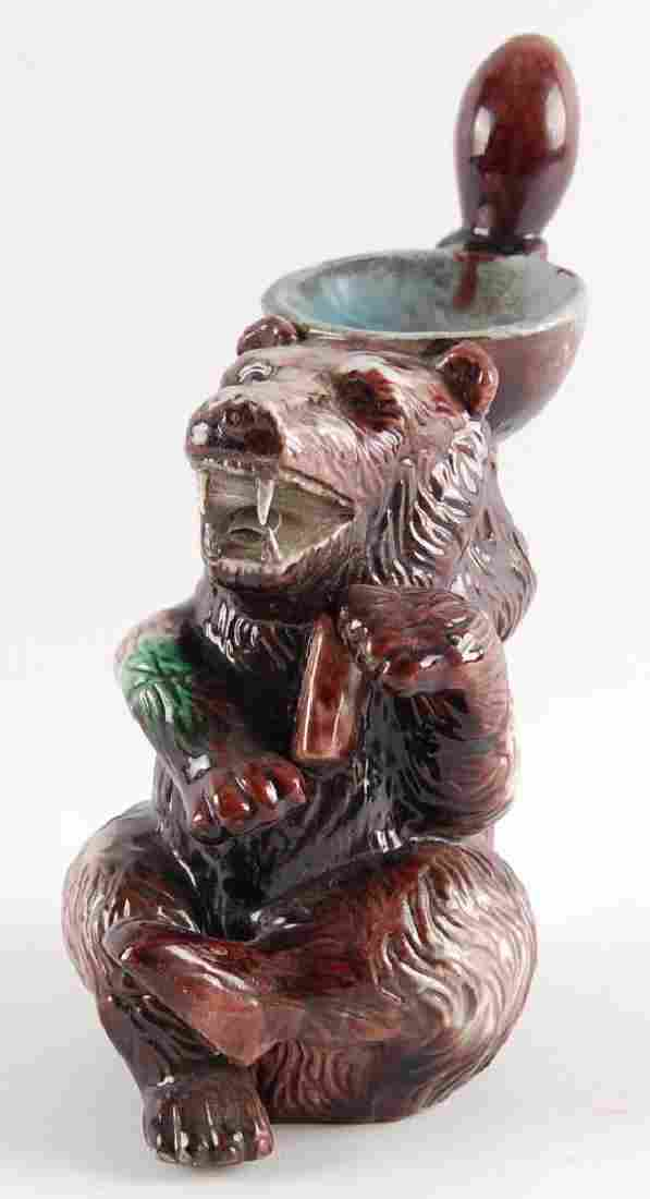 """Majolica Bear """"Pitcher"""" with Spoon"""