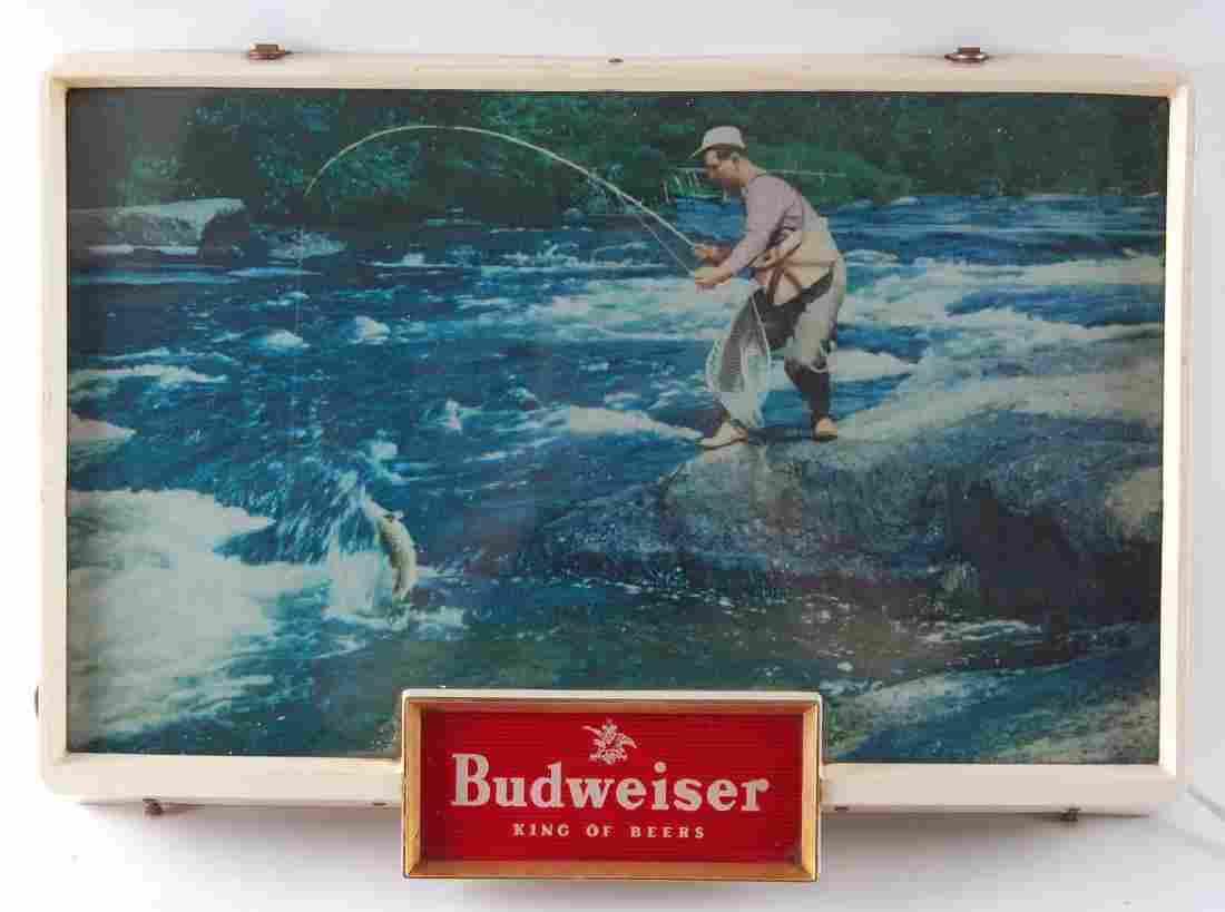 Vintage Budweiser Fly Fishing Light Up Advertising Beer