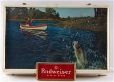 Vintage Budweiser Fishing Light Up Advertising Beer