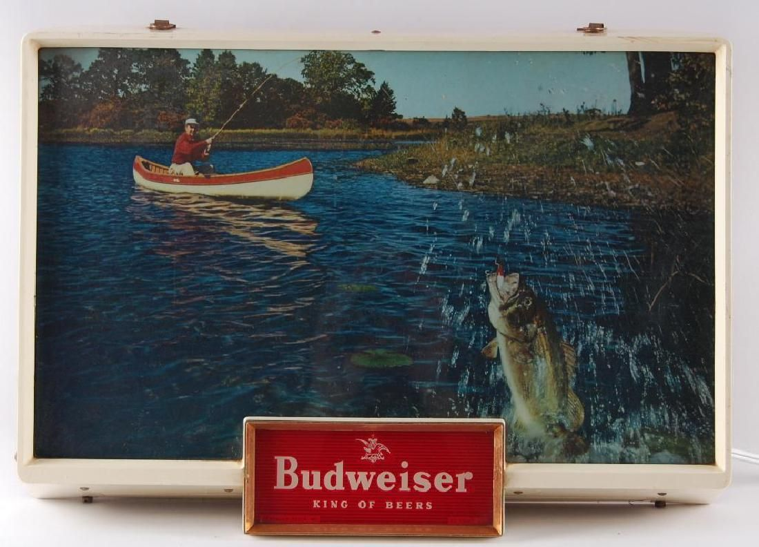 Vintage Budweiser Fishing Light Up Advertising Beer