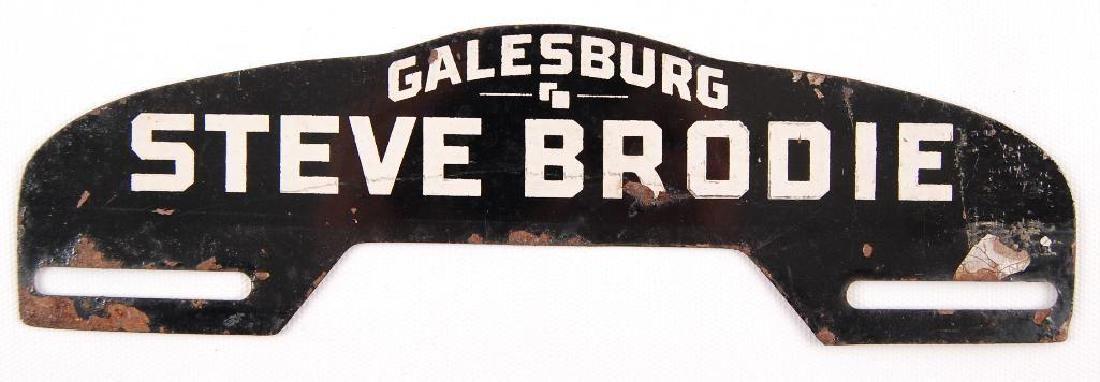 Vintage Galesburg Steve Brodie Advertising Metal