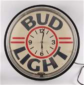Vintage Budweiser Light Up Advertising Neon Beer Clock