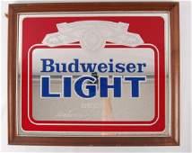 Vintage Budweiser Light Advertising Beer Mirror