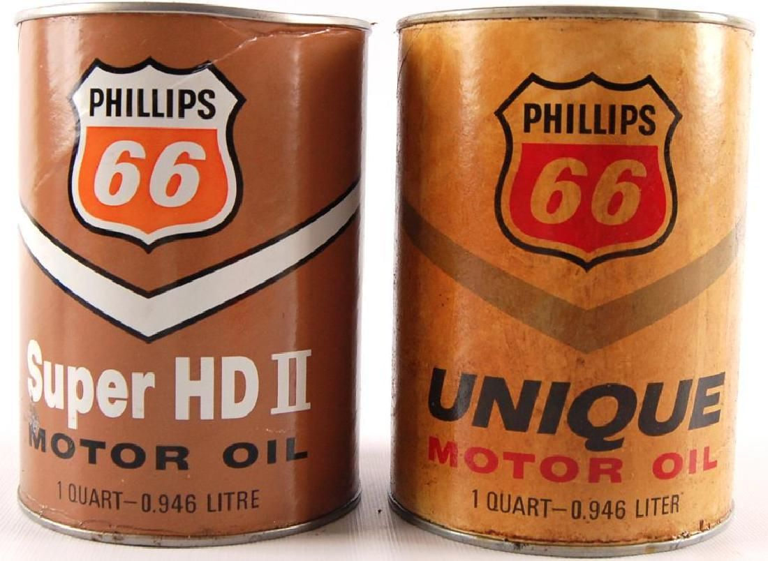Group of 2 Vintage Phillip 66 Motor Oil Cans