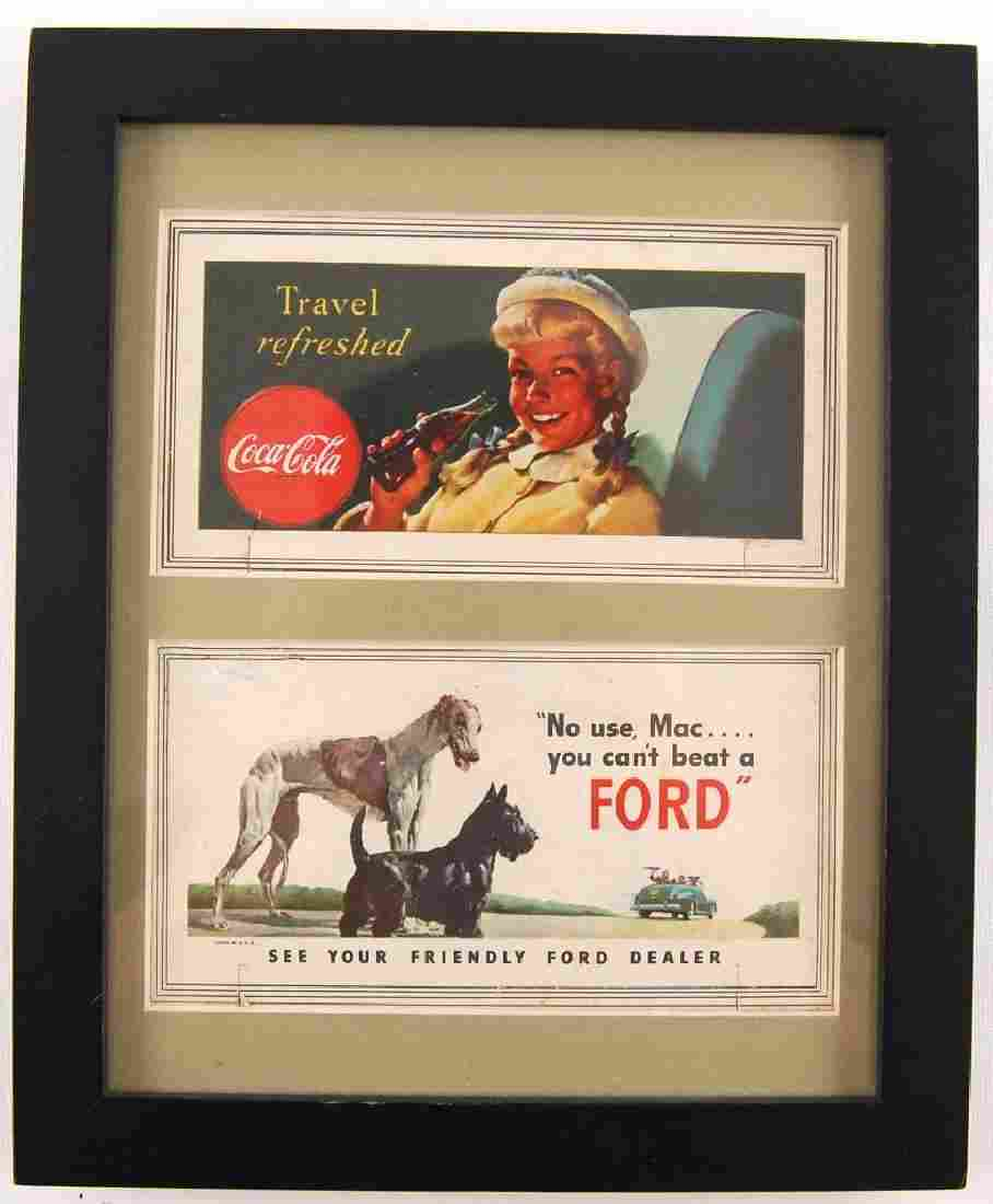 Group of 2 Framed Coca-Cola and Ford Framed