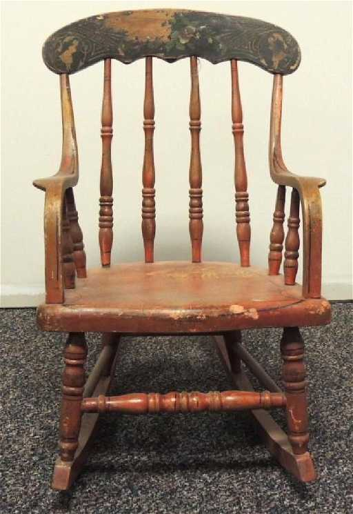 - Antique Child's Rocking Chair With Original Paint