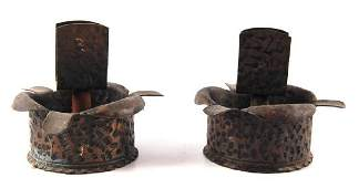 Pair of Antique Trench Art Ashtray Match Book Holders