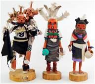 Lot of 3  Hopi Mudhead Kachina Dolls