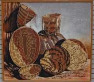 "Framed, Original Still Life ""Baskets"" by Stan Natchez"