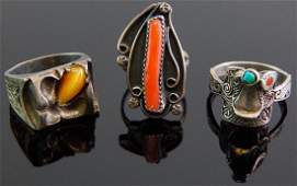 Group of 3 Sterling Silver Southwestern Rings