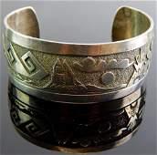 Navajo Sterling Silver Storyteller Cuff Bracelet