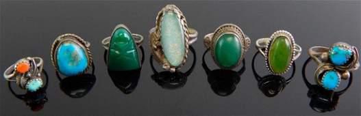 Group of 7 Sterling Silver  Gemstone Rings