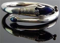 Taxco Mexico Sterling Silver  Lapis Bangle Bracelet