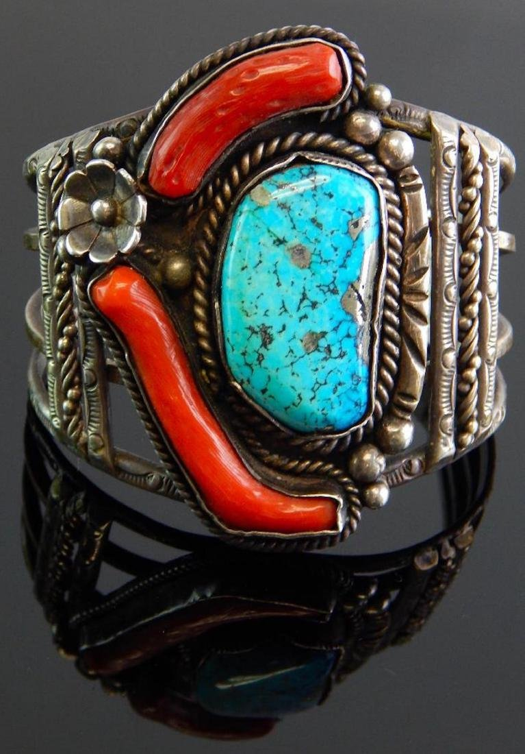 Large Sterling Silver Turquoise & Coral Cuff Bracelet