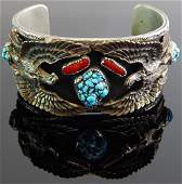 Sterling Silver & Turquoise Eagle Cuff Bracelet