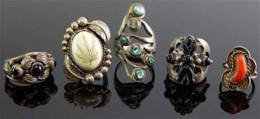 Group of 5 Sterling Silver & Gemstone Rings