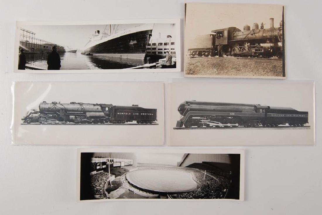 Group of 5 Antique Photographs of Trains, Ship, and