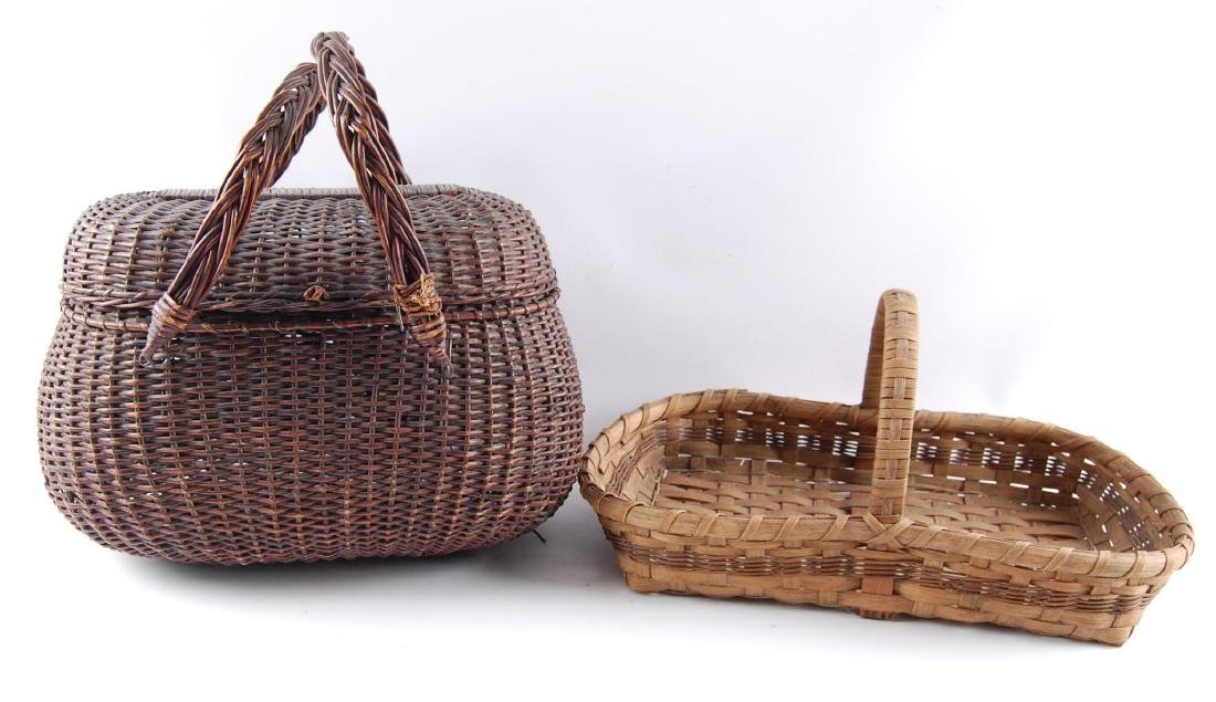 Group of 2 Antique Hand Woven Baskets