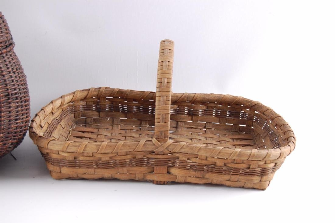 Group of 2 Antique Hand Woven Baskets - 2