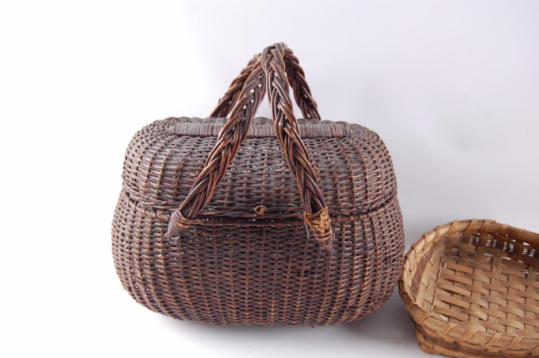 Group of 2 Antique Hand Woven Baskets - 3