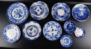 Group of 14 Antique Flow Blue Dishes