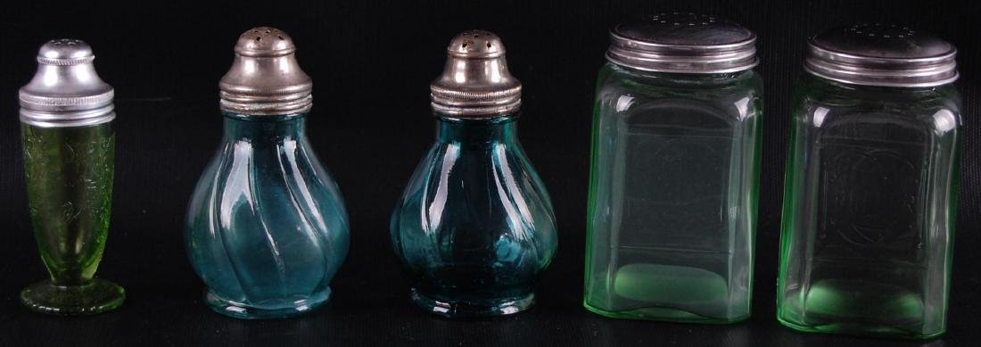Group of 5 : Blue and Green Glass Salt and Pepper