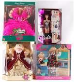 Group of 4 Mattel Barbie Dolls in Original Packaging