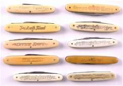 Group of 10 Antique Folding Office Pocket Knives