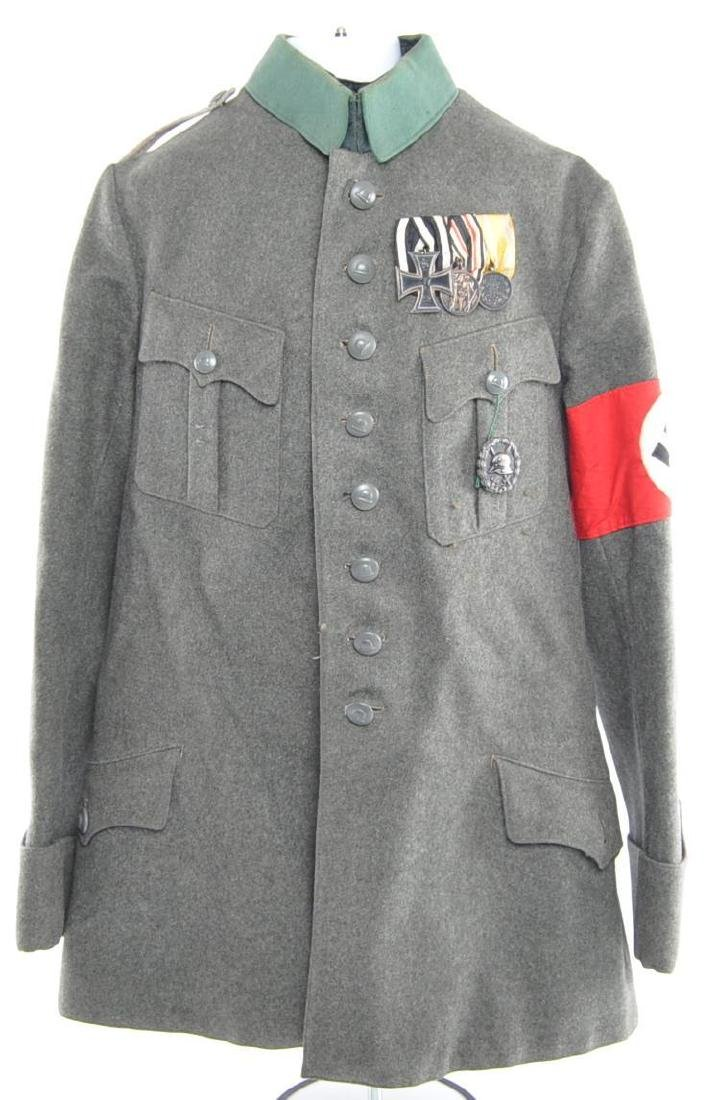 WW1/2 German Tunic with Medals, Bar, Patches, and
