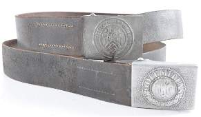 Group of 2 WW2 German Belt Buckles with Belts
