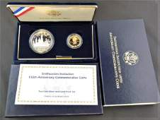 1996 US Smithsonian Institution 2 Coin Gold  Silver