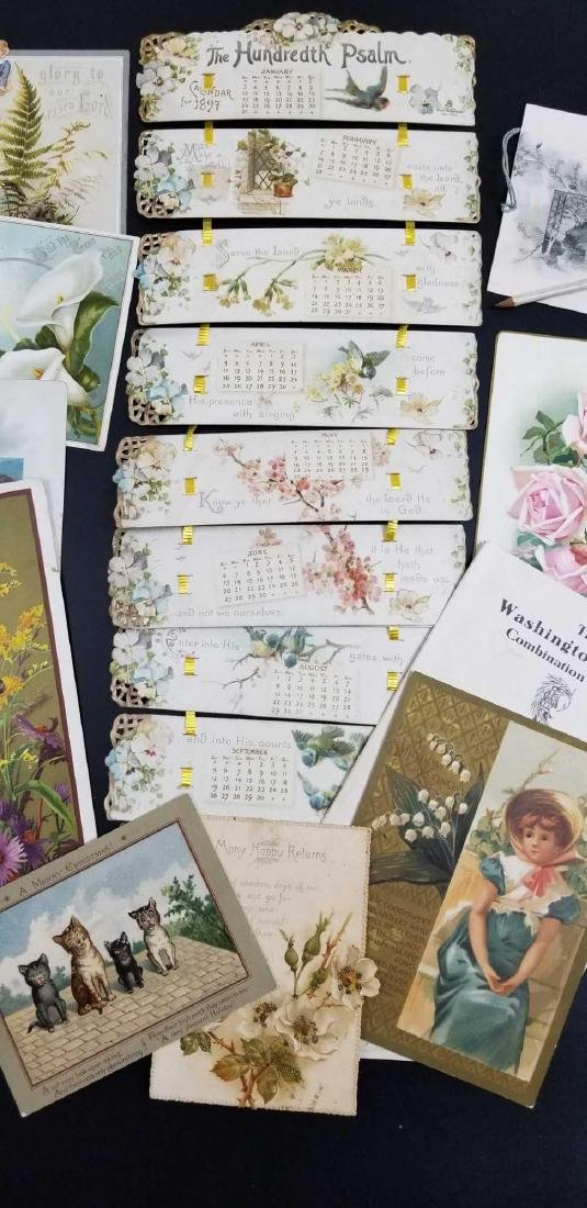 Lot of antique cards, calendar, dance card - 3