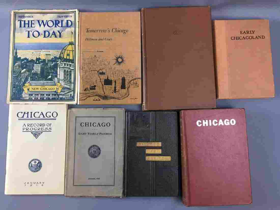 Lot of 8 antique books of Chicago