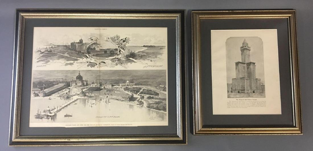 2 framed drawings from Chicago