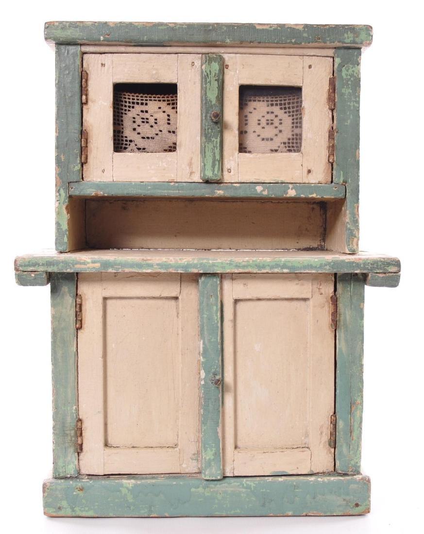 Antique Primitive Chipped Paint Child's Doll Kitchen
