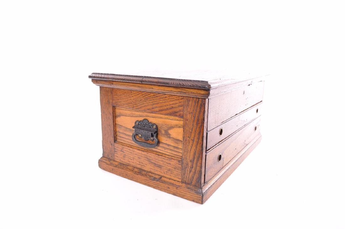 Antique Oak Tool Chest with Cast Iron Handles - 6