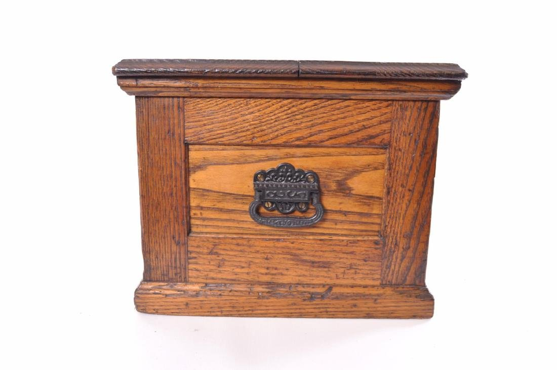 Antique Oak Tool Chest with Cast Iron Handles - 7