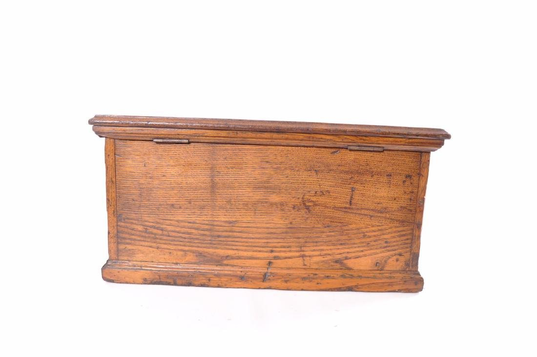 Antique Oak Tool Chest with Cast Iron Handles - 8