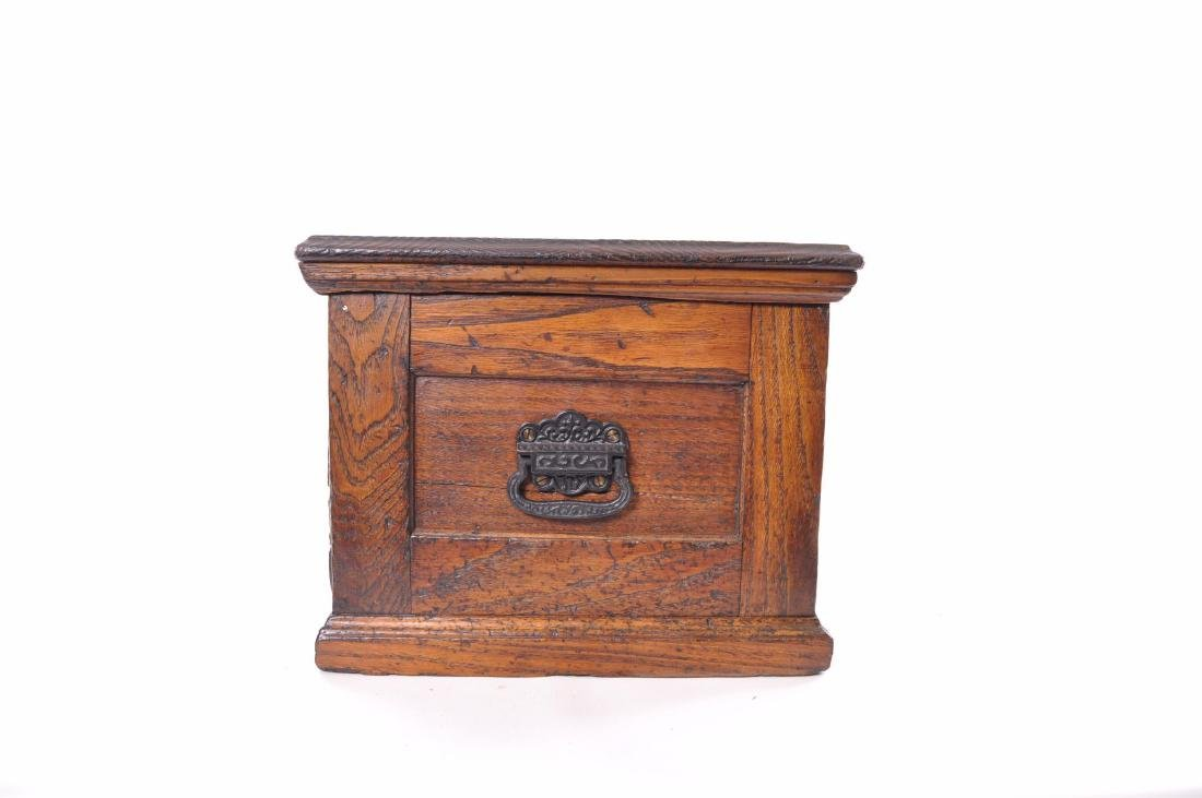Antique Oak Tool Chest with Cast Iron Handles - 9