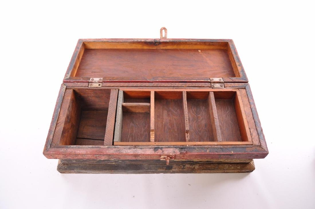 Antique Painted Tool Box - 3