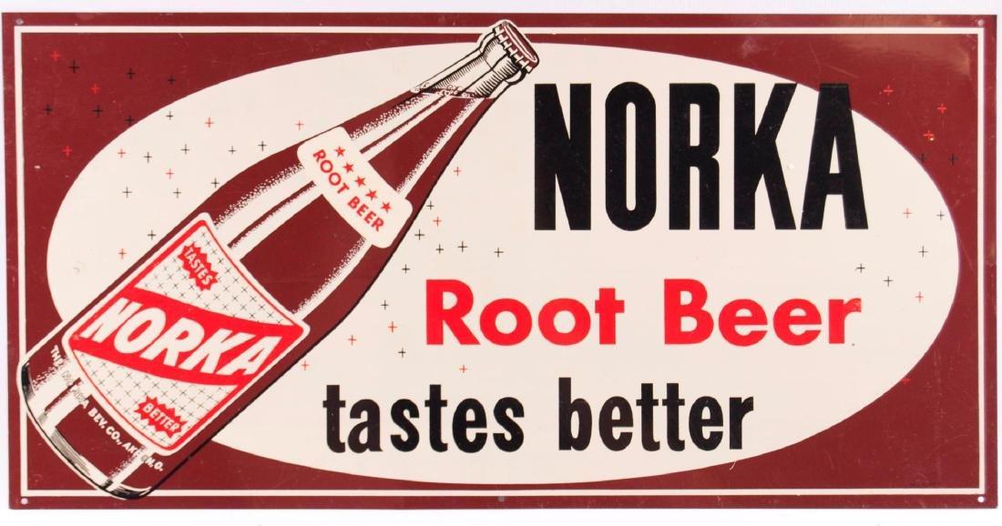 Vintage Norka Root Beer Metal Advertising Sign