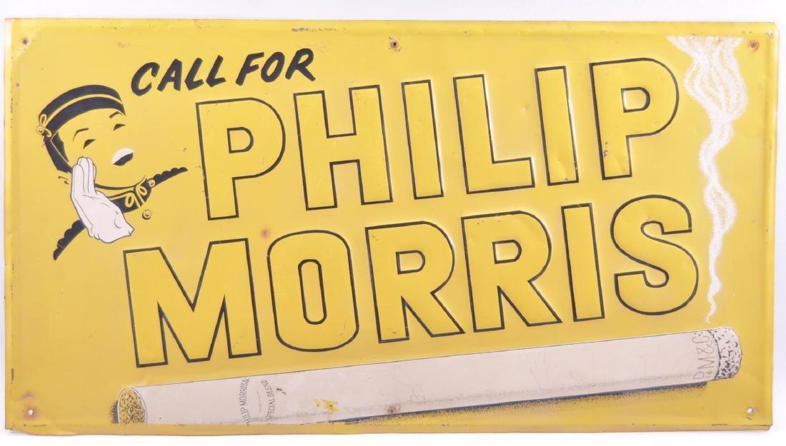 Vintage Philip Morris Embossed Advertising Metal Sign