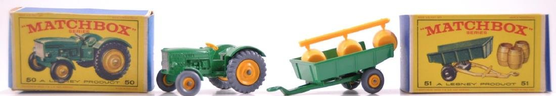 Group of 2 Matchbox Die-Cast Tractor and Trailer with