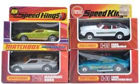 Group of 4 Matchbox Speed Kings Die-Cast Cars in
