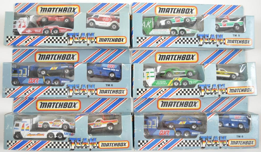 Group of 6 Team Matchbox Race Car Transports in