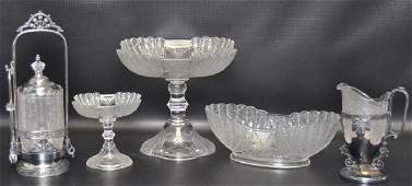 Group of 5 : Early American Pressed Glass Items