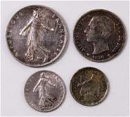 Lot of 4 Foreign Silver Coins